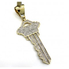 10k Yellow Gold Diamond Key Pendant 0.55ct