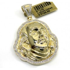 10k Yellow Gold Diamond Outlined Benjamin Franklin Face Pendant 0.57ct