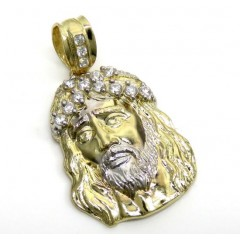 10k Yellow Gold Two Tone Cz Medium Jesus Face Pendant 1.20ct