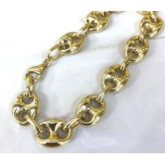 14k Yellow Gold Hollow Gucci Puffed Link Bracelet 11mm 8.5