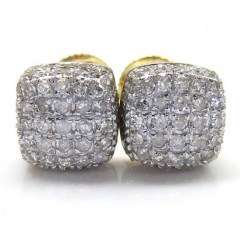 10k Yellow Gold Diamond 7 Row Cube Earrings 0.55ct