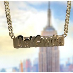 14k Yellow Gold Custom Name Plate With Miami Chain 16-24 Inches 2.60mm