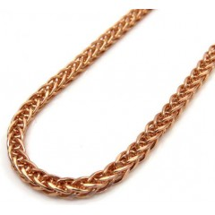 10k Rose Gold Hollow Wheat Franco Chain 24 Inch 2.5mm