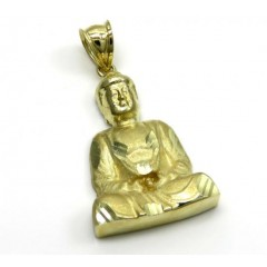 10k Yellow Gold Mini Diamond Cut Buddha Pendant