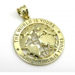 10k Yellow Gold Small The World Is Yours Pendant