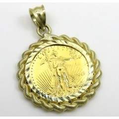 10k Yellow Gold Rope Diamond Cut Liberty Coin Pendant
