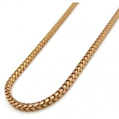 14k Rose Gold Skinny Solid Tight Franco Link Chain 18-24 Inches 1.2mm