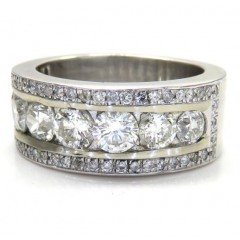14k White Gold Jumbo Diamond Wedding Band Ring 3.60ct