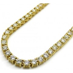 14k Yellow Gold Round 10 Pointer Diamond Tennis Chain 22 3.5mm 17.00ct