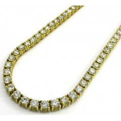 14k Yellow Gold Round 25 Pointer Diamond Tennis Chain 24 Inches 4.5mm 32.00ct