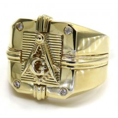 14k Yellow Gold Cz Free Mason G Ring 0.08ct