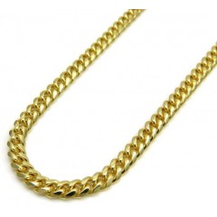 14k Yellow Gold Skinny Tight Link Miami Chain 20-24