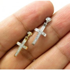 14k Yellow Or White Gold 20 Diamond Mini Cross 0.06ct