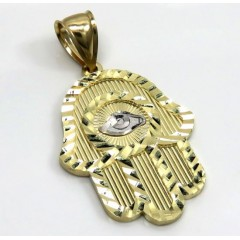 10k Two Tone Gold Diamond Cut Hamsa Pendant
