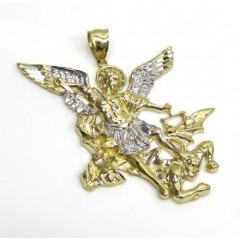 14k Two Tone Gold Angel Vs Demon Large Pendant
