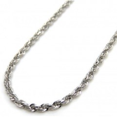 14k White Gold Skinny Diamond Cut Rope Link Chain 18 Inch 1.50mm