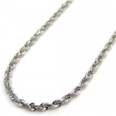 14k White Gold Skinny Diamond Cut Rope Link Chain 18 Inch 1.50mm