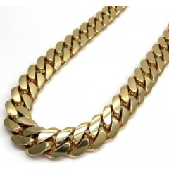 14k Yellow Gold Solid Miami Link Choker Chain 18 Inch 13.20mm