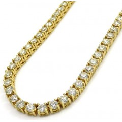 14k Gold Round 20 Pointer Diamond Tennis Chain 20-24 Inches 4mm 24.00ct