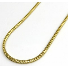 14k Yellow Gold Skinny Solid Tight Franco Link Chain 22-24 Inches 1.2mm