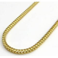 14k Yellow Gold Skinny Solid Tight Franco Link Chain 16-24 Inches 1.5mm