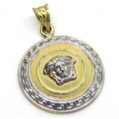14k Two Tone Medusa Head Small Pendant