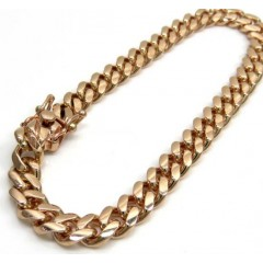14k Rose Gold Solid Miami Link Bracelet 8 Inch 6.80mm