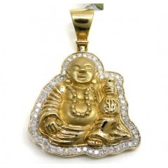 10k Yellow Gold Money Bag Fat Small Buddha Diamond Pendant 0.35ct
