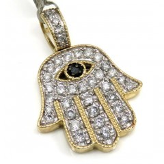 10k Yellow Gold Diamond Evil Eye Hamsa Pendant 0.92ct