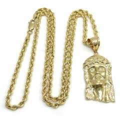 10k Yellow Gold Classic Jesus Pendant With 20-24 Inch 3mm Rope Chain