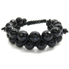 Macramé Faceted Glossy Black Onyx Bead Double Rope Bracelet