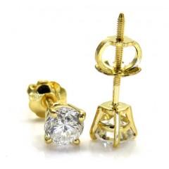 14k Gold Clean Round Cut Diamond Studs Earrings 0.50ct