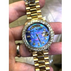Rolex Day Date 36mm 18k Yellow Gold Custom Diamond Bezel And Dial 3.55ct