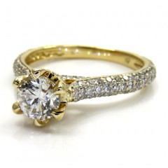 14k Yellow Gold Round Diamond Pave Engagement Ring 1.10ct
