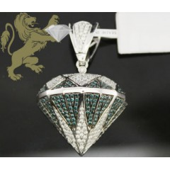 1.90ct 14k White Gold Diamond blue Diamond Pendant