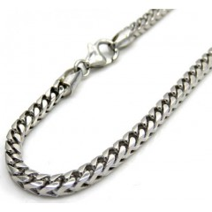 10k White Gold Solid Tight Link Franco Bracelet 8 Inches 3mm