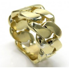 10k Yellow Gold Solid Xl Flat 11mm Cuban Ring