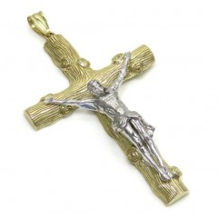 10k Solid Two Tone Bark Wood Finish Jesus Cross