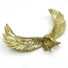 10k Yellow Gold Large Solid Heavy Diamond Cut Eagle Pendant