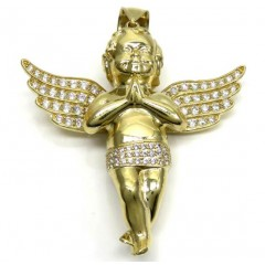 10k Yellow Gold 3d Xl Baby Cherub Angel Pendant 3.50ct