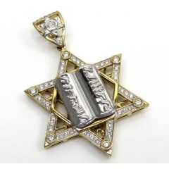 10k Yellow Gold Diamond Star Of David 10 Commandments Pendant 1.00ct
