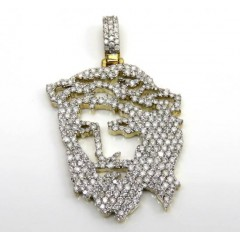 10k Yellow Gold Stencil Diamond Jesus Piece 2.00ct