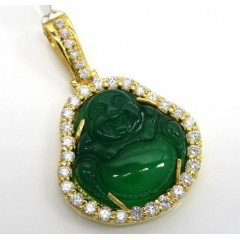 14k Yellow Gold Green Jade Fat Buddha Diamond Pendant 2.25ct