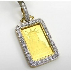 10k Yellow Gold Diamond Frame With 24k Gold Statue Of Liberty Bar Pendant 0.70ct