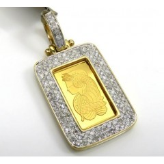 10k Yellow Gold 2 Row Diamond Frame With Suisse 24k Gold Mini Bar Pendant 0.53ct