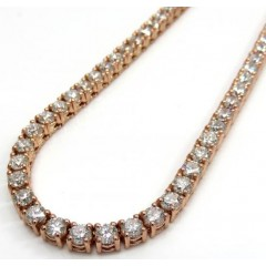 14k Gold Round 25 Pointer Vs Diamond Tennis Chain 24 Inches 4mm 36.00ct