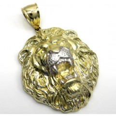 10k Two Tone Gold Solid Large 3d Lion Head Pendant