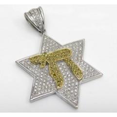 14k White Gold Canary Chai & Diamond Star Of David Pendant 1.00ct