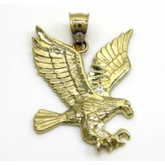 10k Yellow Gold Mini Diamond Cut Eagle Pendant