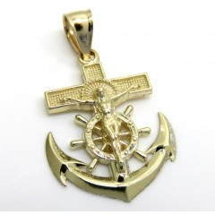 10k Yellow Gold Mini Anchor Jesus Pendant